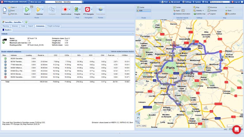 Screenshot interface utilisateur de la fonction de calcul d'émissions polluantes poids lourds du logiciel PTV Map&Guide