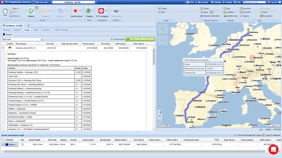 Screenshot de l'interface utilisateur de la fonction de calcul des frais de péage camions sur le logiciel PTV Map&Guide