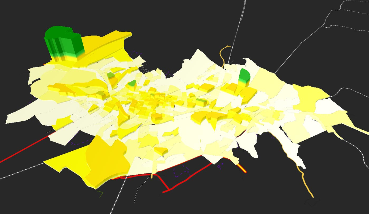 Screenshot de l'analyse de zones en 3D avec PTV Visum