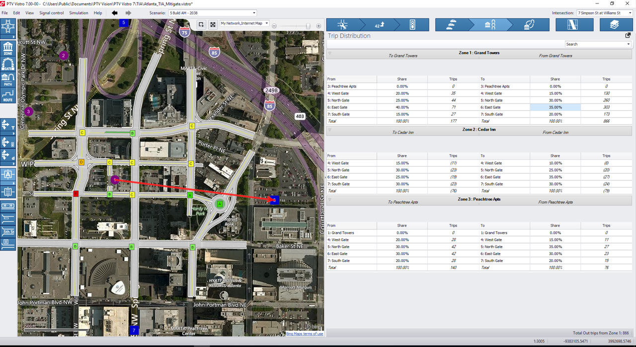Screenshot of PTV Vistros Traffic Impact analysis