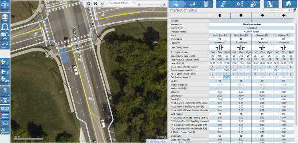 PTV Vistro enables multiple lanes to be dropped along the link or leg without the addition of an extra node.
