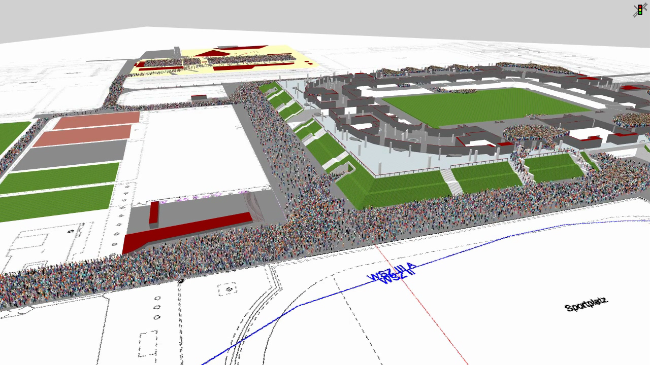 Screenshot from PTV Viswalk 11 showing how to simulate crowd behaviour