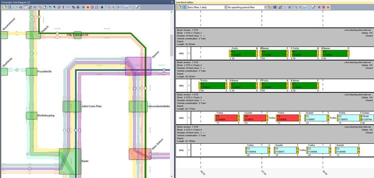 Screenshot de la fonction d'analyse des horaires des TC avec PTV Visum