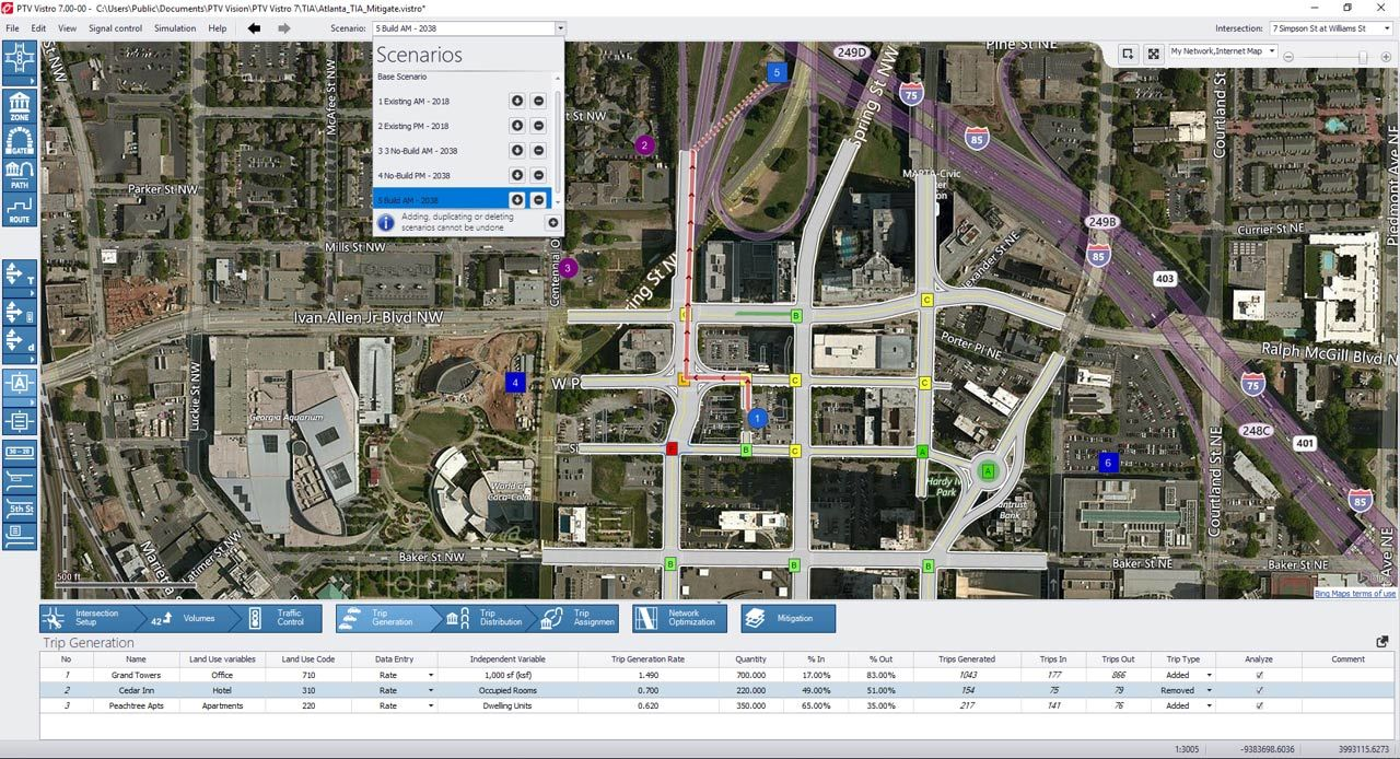 Screenshot of PTV Vistros Traffic Impact analysis and its scenarios