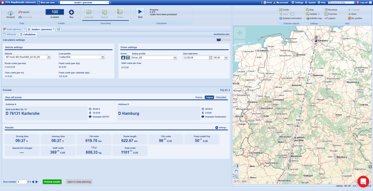 Screenshot of the PTV Map&Guide function tenderplus