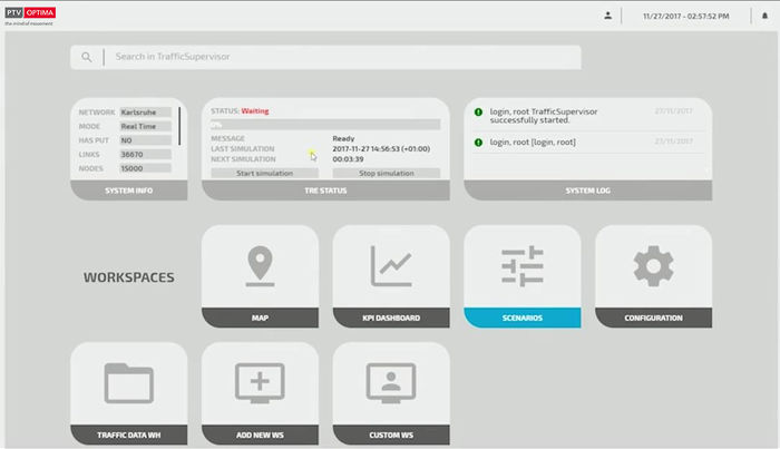 A screenshot showing the web-based UI of real-time traffic management software PTV Optima