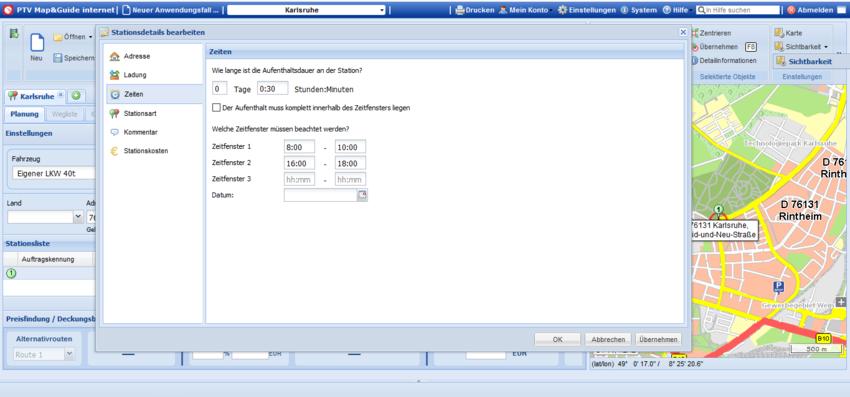 Screenshot interface utilisateur de la fonction de gestion de données clients sur le logiciel PTV Map&Guide