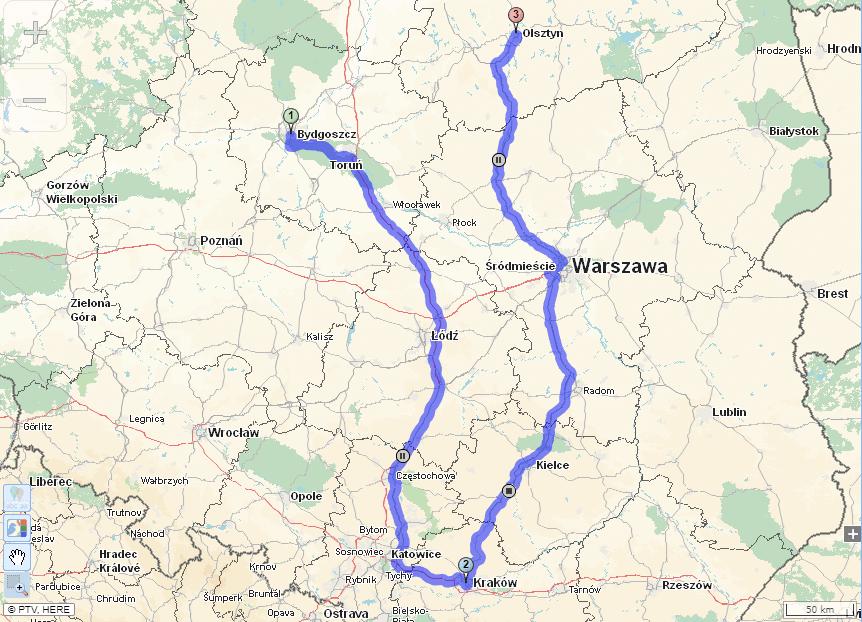 Mapa dla ciężarówek