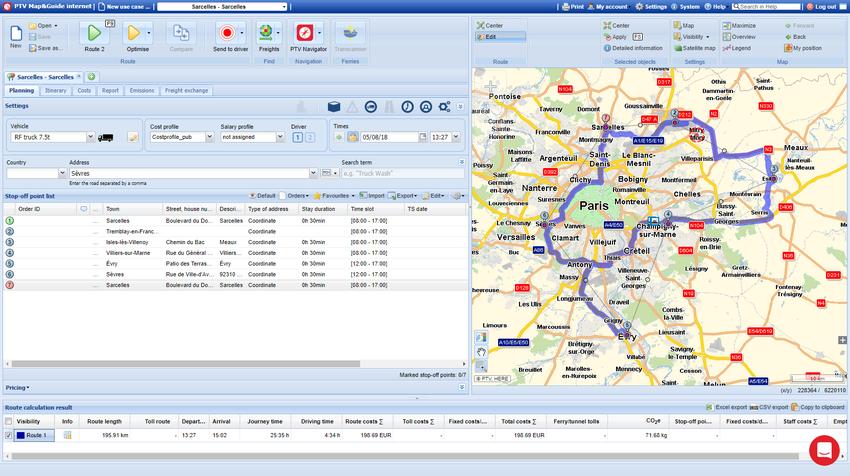Fonction - calcul et optimisation d'itinéraires poids lourds - PTV Map&Guide