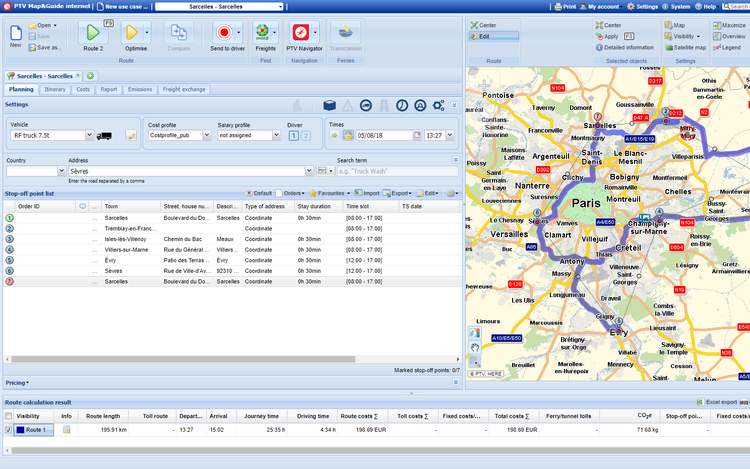 Driving Route Planner Driving Distance Optimizer >> Truck Route Planner For Professionals Ptv Map Guide